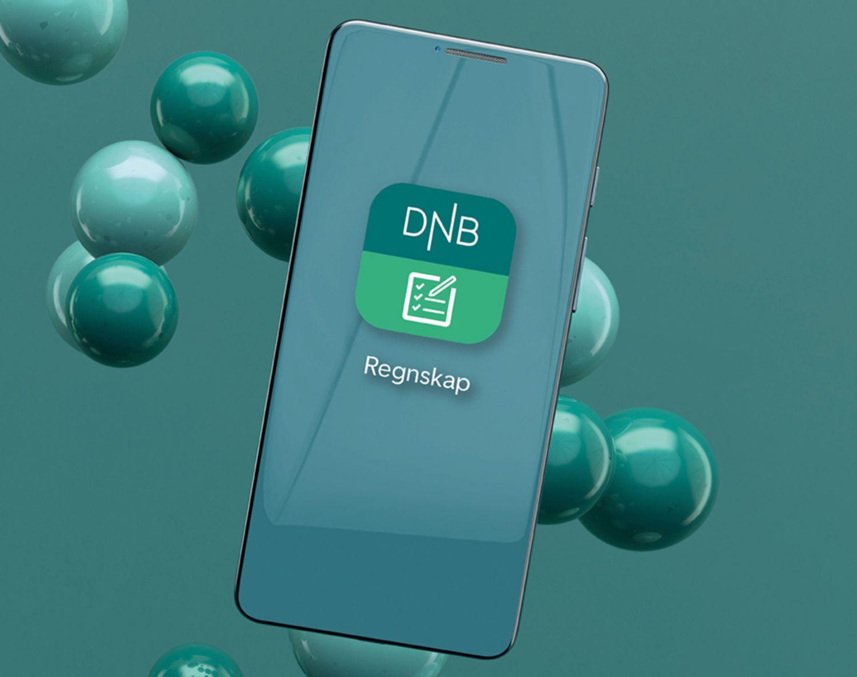 Illustrasjon av mobiltelefon som viser logo til DNB Regnskap