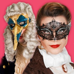 Original Venezianische Masken - Halbmasken, Vollmasken, Commedia dell'arte, Karneval in Venedig, Carnevale di Venezia
