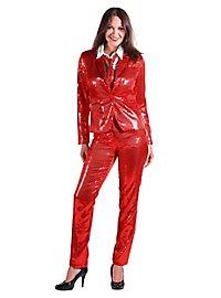 Pailletten Anzug für Damen rot