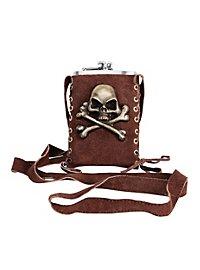 Metallflachmann Pirat mit Umhängetasche braun