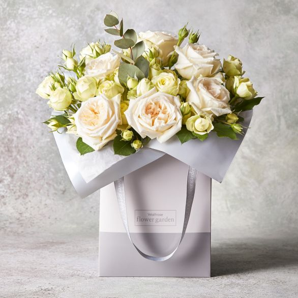 Foundation Scented White Roses Gift Bag White