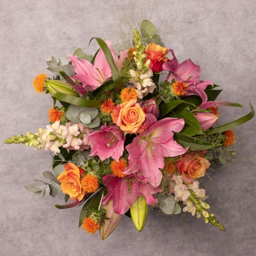 Pink Lily And Rose Bouquet Antirrhinums Waitrose Florist