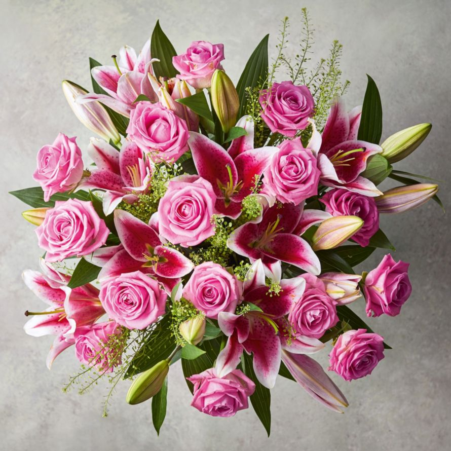 Large Pink Rose Scented Lily Bouquet All Flowers Plants