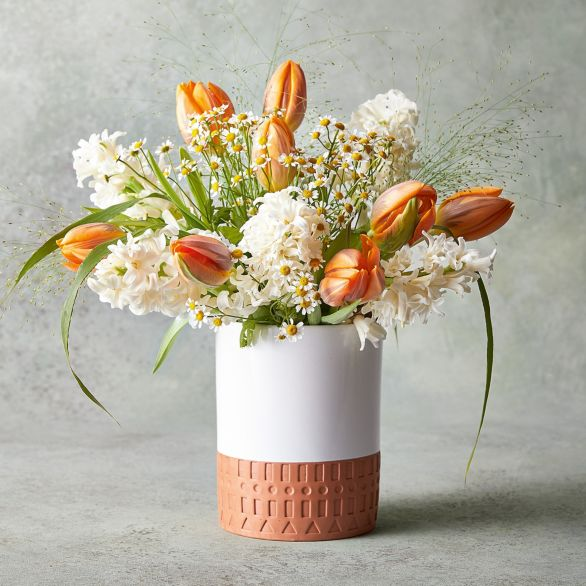 Hyacinth & Tulip Vase Orange