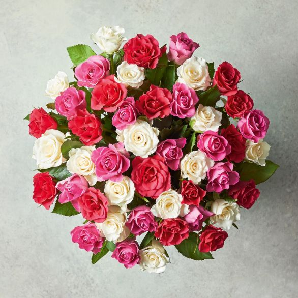 Medium Mixed Sweetheart Roses Bouquet Pink