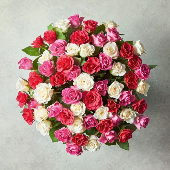 Large Mixed Sweetheart Roses Bouquet Pink