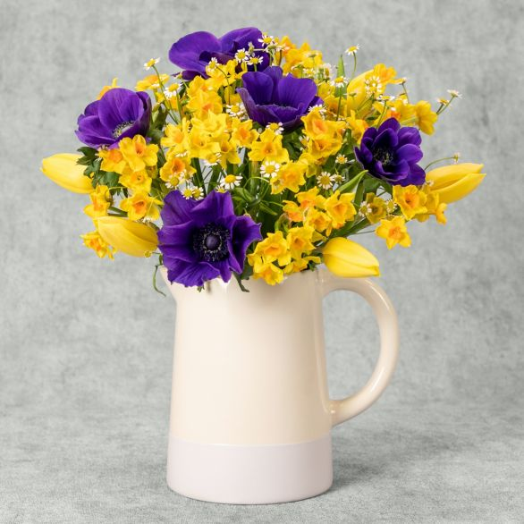 Scented Spring Posy Jug Mixed vibrant
