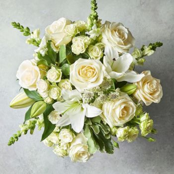Medium scented white lily rose bouquet mightylinksfo