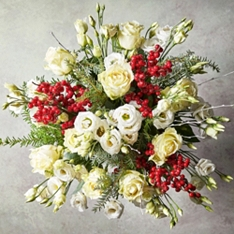 White Rose, Lisianthus & Ilex Bouquet