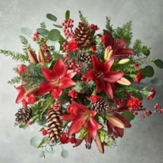 Christmas Red Lily & Ilex Bouquet