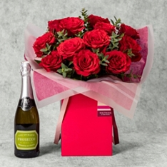 Valentine's Day Red Rose Gift Bag with Prosecco