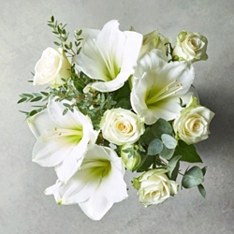 White Amaryllis & Rose Bouquet