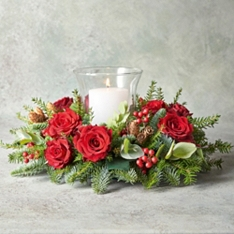 Christmas Wilderness Hurricane Candle Centrepiece