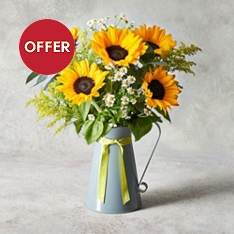 British Sunflowers & Iris Jug