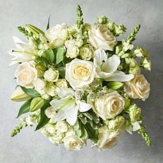 Large White Cottage Rose & Lily Bouquet