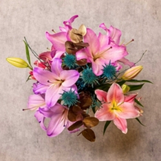 Christmas Gold Lily & Foliage Bouquet