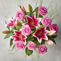 Pink Rose & Scented Lily Bouquet
